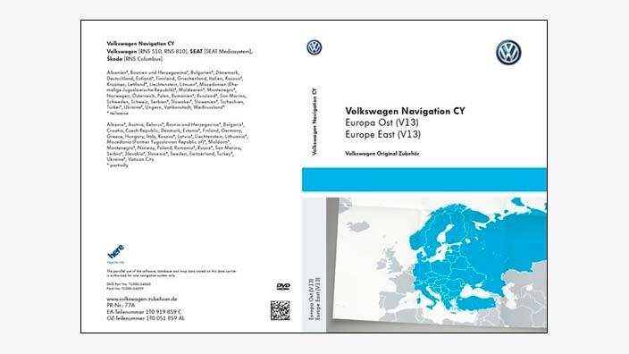 DVD z mapami nawigacyjnymi krajów Europy Wsch  V13 do RNS 510/810