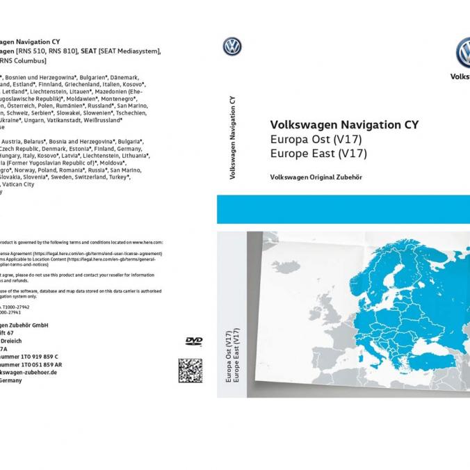 DVD z mapami nawigacyjnymi krajów Europy Wschodniej RNS 510/810. Wersja V17