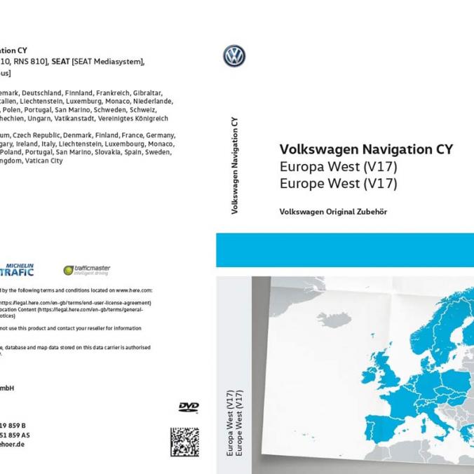 DVD z mapami nawigacyjnymi krajów Europy Zachodniej  RNS 510/810. Wersja V17