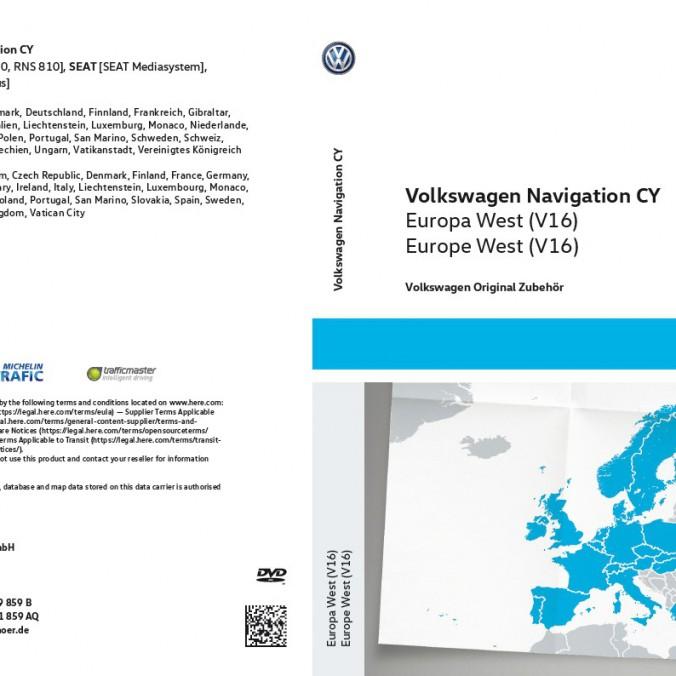 DVD z mapami nawigacyjnymi krajów Europy Zach V16 do RNS 510/810