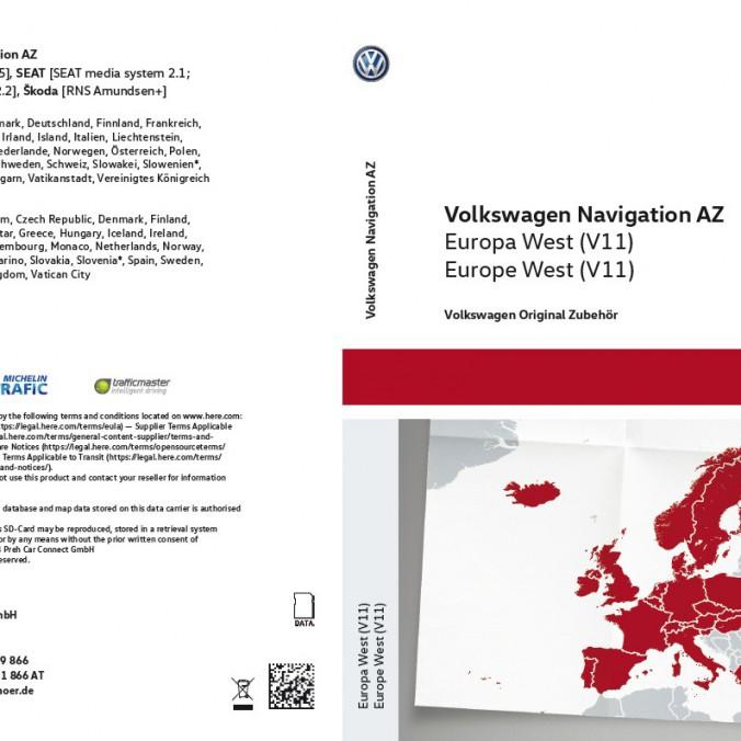 Karta SD z mapami nawigacyjnymi krajów Europy Zach  V11 do RNS 315
